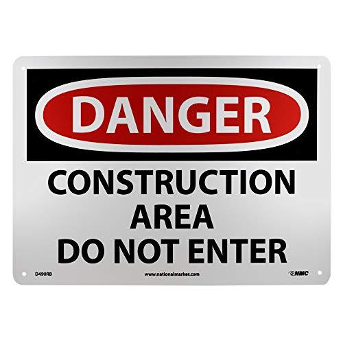 NMC D490RB OSHA Sign, Legend DANGER - CONSTRUCTION AREA DO NOT ENTER, 14 Length x 10 Height, Rigid Plastic, Red/Black on White