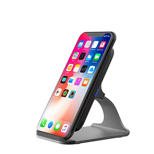 Vesena Fast Wireless Charger Dock, 2-Coil Qi Wireless Charging Stand for iPhone X iPhone 8 iPhone 8 Plus, Support Samsung Galaxy S8 Note8 and All Qi-Enabled Devices, AC Adapter Not Included.