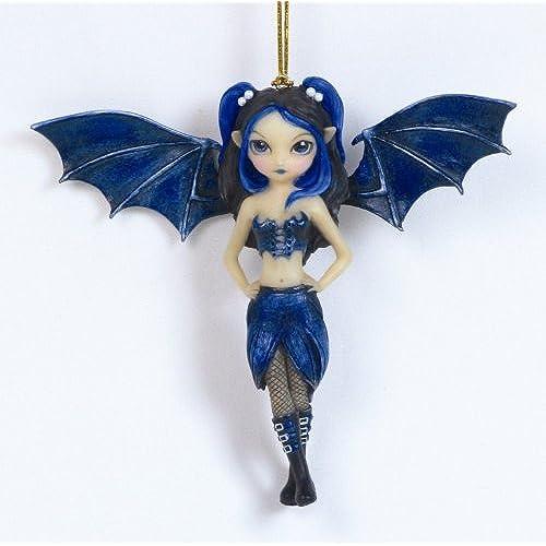 Blue Bat Wings Gothic Fairy Girl Decorative Figurine Ornament