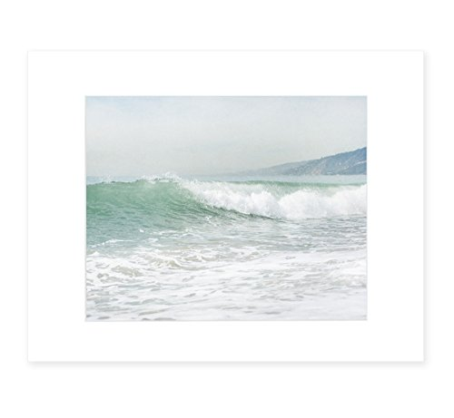 Coastal Ocean Waves Wall Art, California Beach Decor, Malibu Pacific Palisades Landscape Picture, 8x10 Matted Photographic Print (fits 11x14 frame), 'Breaking - Art Photography Ocean