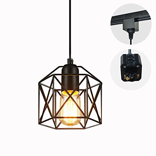 STGLIGHTING 1-Light H-Type Wire Track Minimalist Pendant Light 4.9 Feet Cord Restaurant Decorative Iron Cage Lamp Industrial Factory Pendant Lamp Bulb Not Included