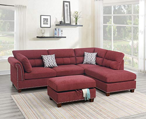 Poundex Sectional, Paprika Red