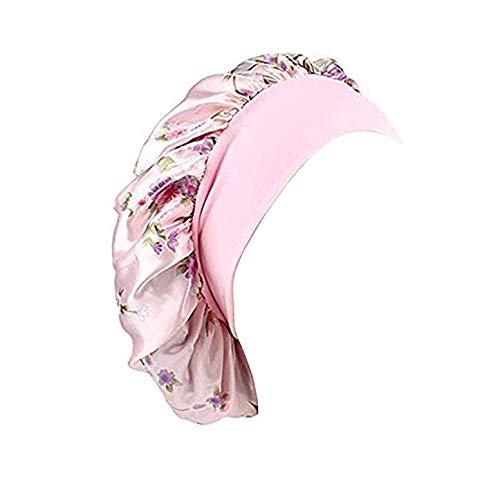 Silk Satin Sleep Cap Bonnet Wide Band Night Sleep Hats for Womens,Hair Loss,Natural Hair (One Size, Light Pink)