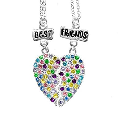 cbd6fca390eb7c BEST FRIENDS BFF NECKLACE FOR 2 CRYSTAL HEART CHARM SILVER TONE 2 IN 1  PENDANT GIRLS NECKLACE GIFT SET: Amazon.co.uk: Jewellery