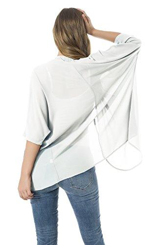 las blusas del la gasa de Las la de Blanco de las del rebeca chaquetas sueltan kimono mujeres mantón HwwEa