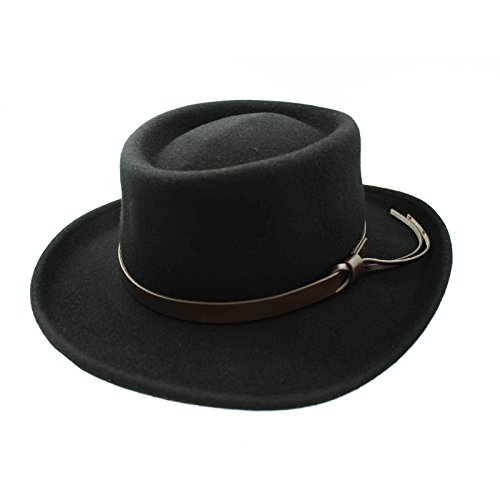 1800's Western Costumes (Men's Wool Gambler Hat with Band (Large (23.5 in. / 59.5 cm), Black))