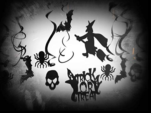Black Indoor Spooky Halloween Decorations Kit w/Hanging Swirls Flying Witch Spider Bat Skull Trick or Treat Cutouts -