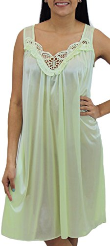 Looking Embroidered Nightgown 06N XX-Large Pistachio (Large Pistachio)