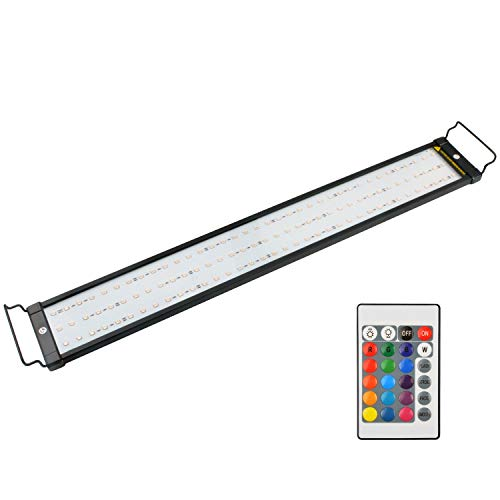 NICREW RGB LED Aquarium Light, Dimmable Fish Tank Light with Remote, 28 to 36-Inch, 18 Watts