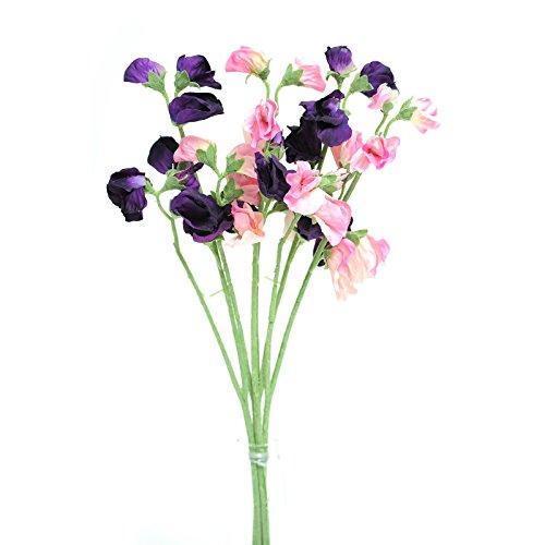FloristryWarehouse Artificial silk Sweetpea pink & purple stems Sweet Pea flowers 16 inches