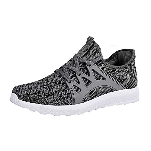 ZOCAVIA Men's Sneakers Ultra Lightweight Breathable Mesh Sport Gym Walking Running Shoes (Grey White,Szie 10)