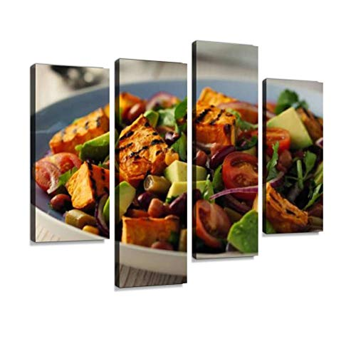 Healthy Beans Salad with Grilled Sweet Potatoes Canvas Wall Art Hanging Paintings Modern Artwork Abstract Picture Prints Home Decoration Gift Unique Designed Framed 4 Panel