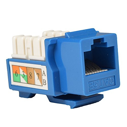 NDA-Electronics Cat5e Keystone Jack Punch Down Cat5 Network Ethernet Blue 10 (Punch Down Cat5)