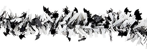 (Halloween Tinsel Garland - 6-Pack Spider and Bat Garland for Halloween Party Decoration, Black and White, 6.5 Feet Each)