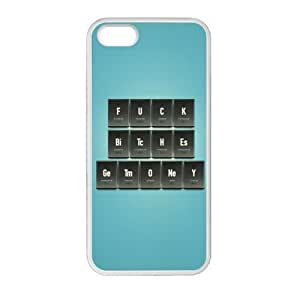 iPhone 5 5S Case Cover - Funny Saying Fuck Bitch Get Money Periodic Table of the Elements iPhone 5 5S TPU (Laser Technology) Case Rubber Sides Shell