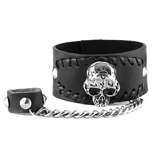 ink Skull Bracelet Metal Spike Studded Bangle Rivet Cuff Wristband Ring Set (Black 1) ()