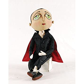 Norbert Vampire Fabric Figurine with Hand-Painted Face and Intricate Detailing