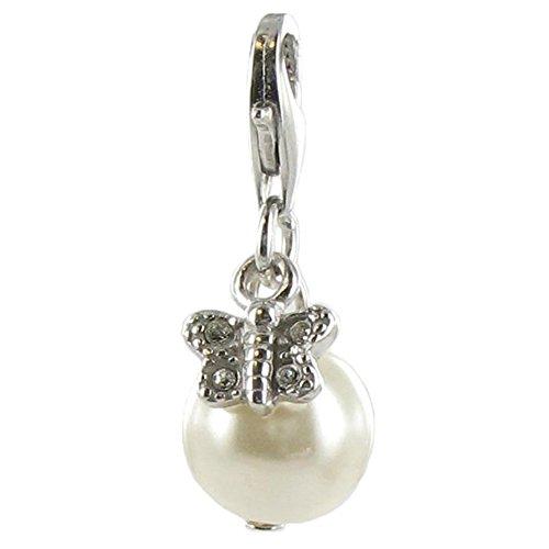 Quiges Fashion Jewellery Charms Argent Couche Perle avec Papillon