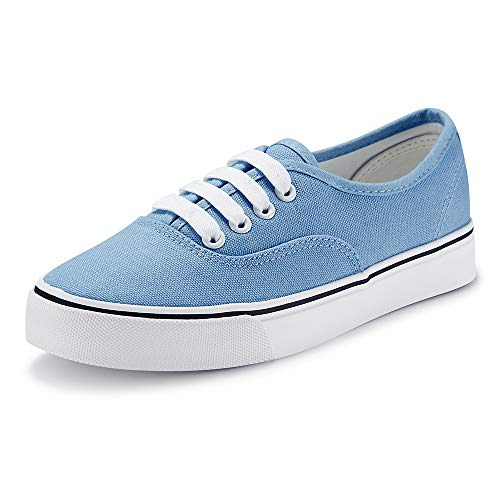 Women Canvas Sneaker Casual Core Classic Skate Shoes Low Cut Espadrilles Lace up Comfortable Alaskan Blue 7 US