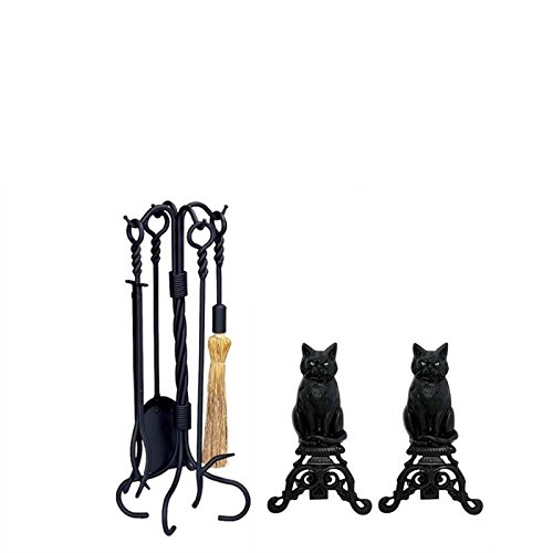 Home Square Fireplace Tool Set with Cast Iron Cats & 5 Piece Black Wrought Iron Ring and Swirl Fireset ()