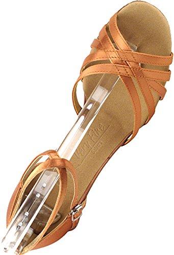Scarpe Da Ballo Da Donna Scarpe Da Ballo Tango Scarpe Da Sera Sera2613eb Comodo-molto Fine 3 [fascio Di 5] Raso Marrone