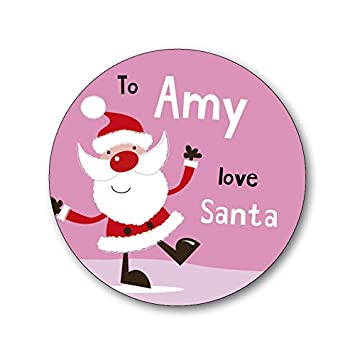 15 personalised christmas xmas gift labels stickers santa pink add your own name