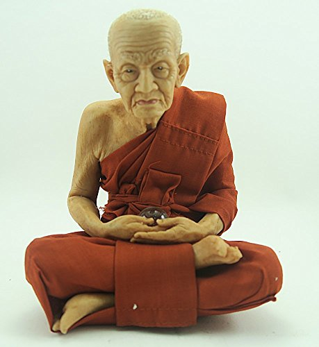 "5""w Thai Lifelike / Realistic Buddhist Monk ""Luang Pu Thuat"" Fiber Statue by Ishivava Shop"