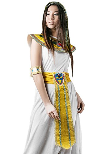 Egyption Costume Makeup (Adult Women Cleopatra Halloween Costume Great Isis Egyptian Dress Up & Role Play (Small/Medium))