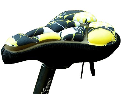 Allnice Cool Comfortable Antiskid Soft 3D Silicone Gel Memory Sponge MTB Mountain Bike Bicycle Cycling Seat Cushion Saddle Cover Thick Pad (Yellow+Black)