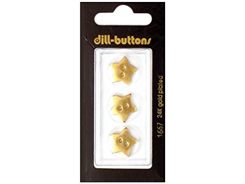 Dill 2 Hole Buttons 5/8 in. Gold Star #1667 3pc.