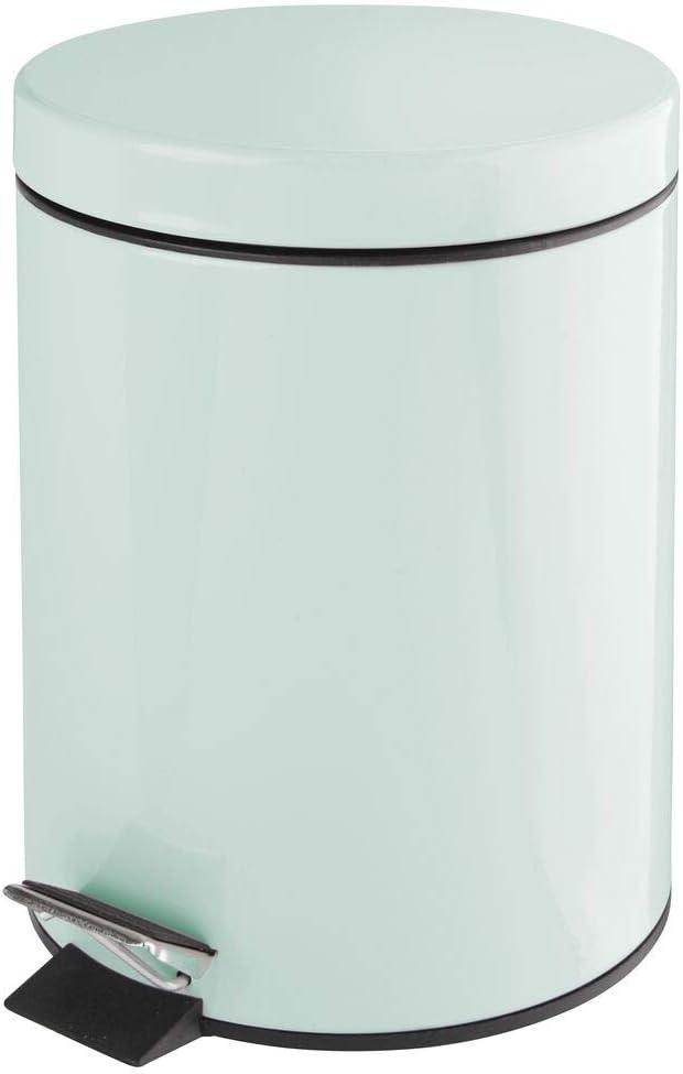 mDesign 1.3 Gallon Wastebasket, Garbage Container Bin - for Bathroom, Powder Room, Bedroom, Kitchen, Craft Room, Office - Removable Liner Bucket - Mint Green