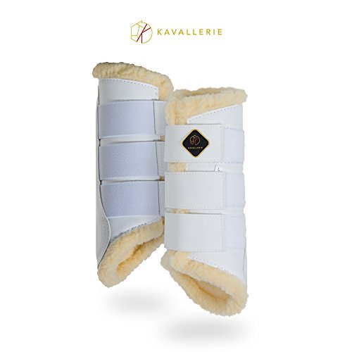 - Kavallerie Dressage Horse Boots: Fleece-Lined Faux Leather Brushing Boots for Training, Jumping, Riding, Eventing - Breathable, Lightweight & Impact-Absorbing White