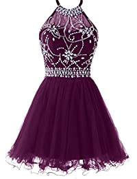 Womens Halter Short Homecoming Dress Beading Tulle Prom Dress