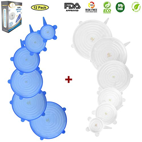 Shopexy Silicone Stretch Lids 12 Set of Reusable Food Savers - Eco Friendly Food Huggers 6 Transparent White Food Covers and 6 Blue Bowl Silicone Lids Bundle - Practical and Universal Airtight Seals