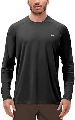 isnowood Mens Long Sleeve Dri-fit UV Sun Protection T-Shirt UPF 50+ for Outdoor Fishing, Hiking, Swimming