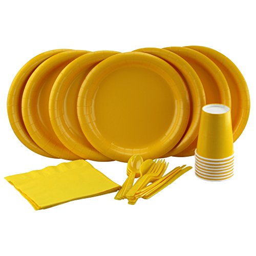 Party Lovers Premium Party Supplies Disposable Dinnerware Set - 20pc Includes Yellow Dinner Plates, Cutlery, Tablecloth Napkins and Cups - Birthday Paper Tableware (Yellow Dinnerware Collection)