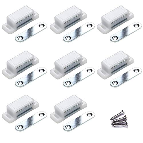 (WOOCH Cabinet Door Latch - 10lb Magnetic Catch for Kitchen Bathroom Cupboard Wardrobe Closet Closures Cabinet Door Drawer Latch (1.8 in White, 8-Pack) )