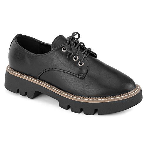 RF ROOM OF FASHION Women's Lace Up Lug Sole Platform Oxford Flat Shoes Black PU ()