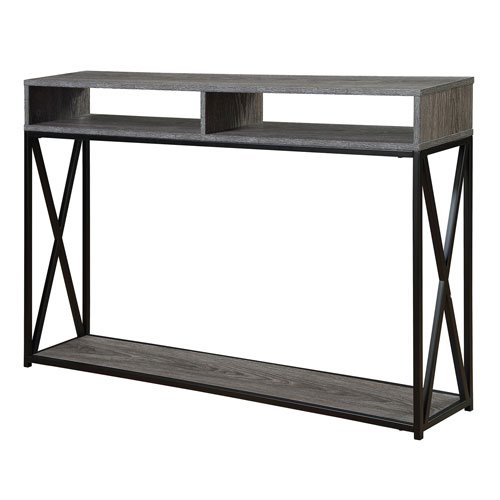 Convenience Concepts Tucson Deluxe 2-Tier Console Table, Weathered Gray/Black 161889WGY
