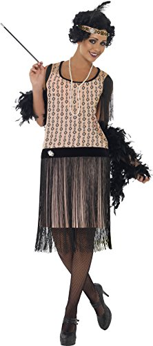 Flapper Dress Costume Uk (Smiffy's Women's 1920's Coco Flapper Costume, Dress, Cigarette Holder, Necklace and Headpiece, 20's Razzle Dazzle, Serious Fun, Size 14-16, 28820)