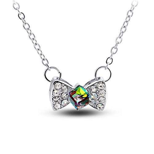 JOYID Sweet Bow Tie Knot Pendant Necklace Colorful Crystal Fashion Necklace for Women Girls