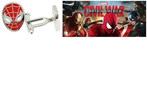 Civil War Spiderman Costume (Marvel Comics (Captain America Civil War) Spiderman Mask Cufflinks By Athena)