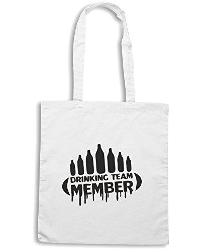 T-Shirtshock - Bolsa para la compra BEER0208 Drinking-Team-Member-Magliette Blanco