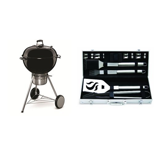 Weber 14501001 Master-Touch Charcoal Grill, 22-Inch, Black with Cuisinart Grilling Set