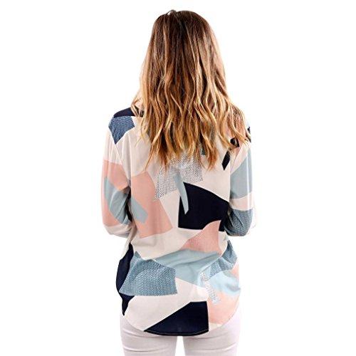 Longra ♣Mujeres Casual impresión V cuello manga larga camisetas Blusas
