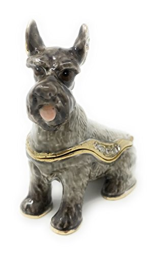 Enameled Schnauzer Trinket Box by Kubla Craft, Accented with Austrian Crystals (Box Austrian Crystal)