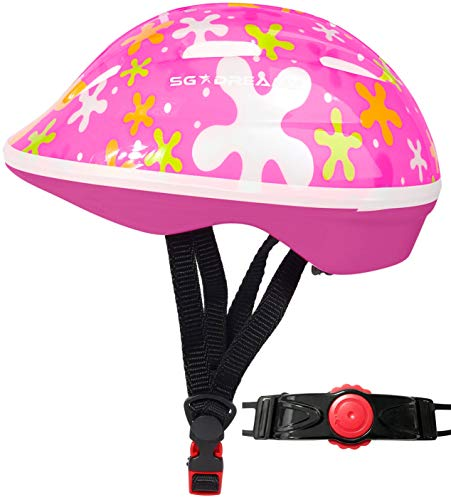 SG Dreamz Toddler Helmet - Adjustable from Infant to Toddler Size, Ages 1 to 3 - Durable Kids Bicycle Helmets with Fun Sporty Design Boys and Girls Will Love - CSPC Certified for Safety (SPLASHPINK)