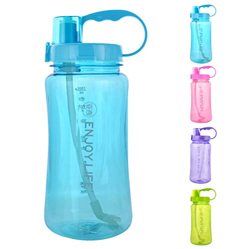 GTI 64 oz Water Bottle with Straw, Half Gallon Wide Mouth Portable Large Plastic Bottle Leak Proof Sports Cup 2L Big Travel Mugs with Scale Strap