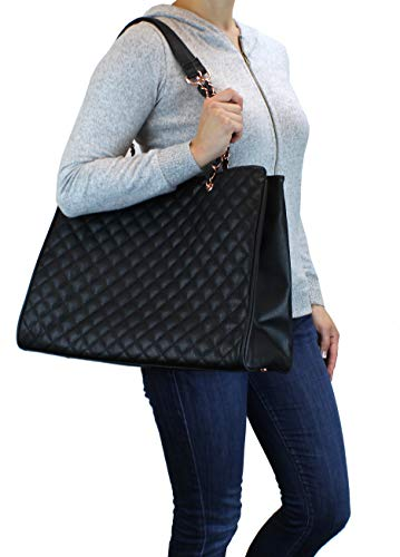 - Women's Large Travel Tote Quilted Purse and Work Laptop Handbag - Rose Gold Hardware With Satin Interior - Black