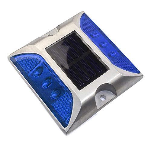 Solar Deck Lights, LED Dock Light Solar Lamps Step Road Path Stud Maker Light, 1/4pcs Waterproof Security Warning Driveway Lighting for Outdoor Fence Patio Yard(4 PCS,Blue) (Lighting Driveway Outdoor Markers)